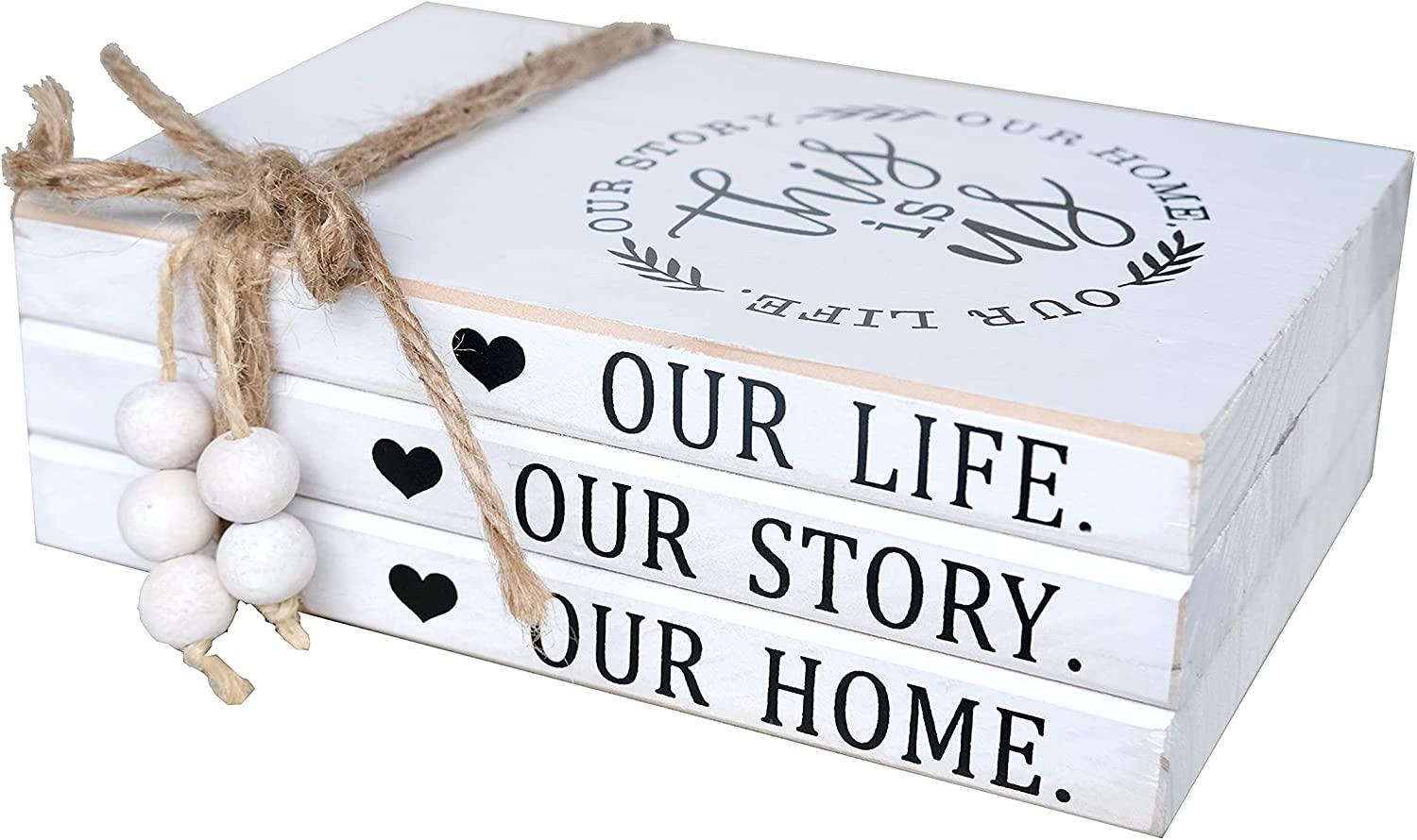 LIVDUCOT Wood Decorative Books Stack Rustic Home Decor Stack White Wooden Books for Modern Home Decor,Shelf,Mantle or Tray This is Us Our Life Our Story Our Home 7X 5.5X 2.5'