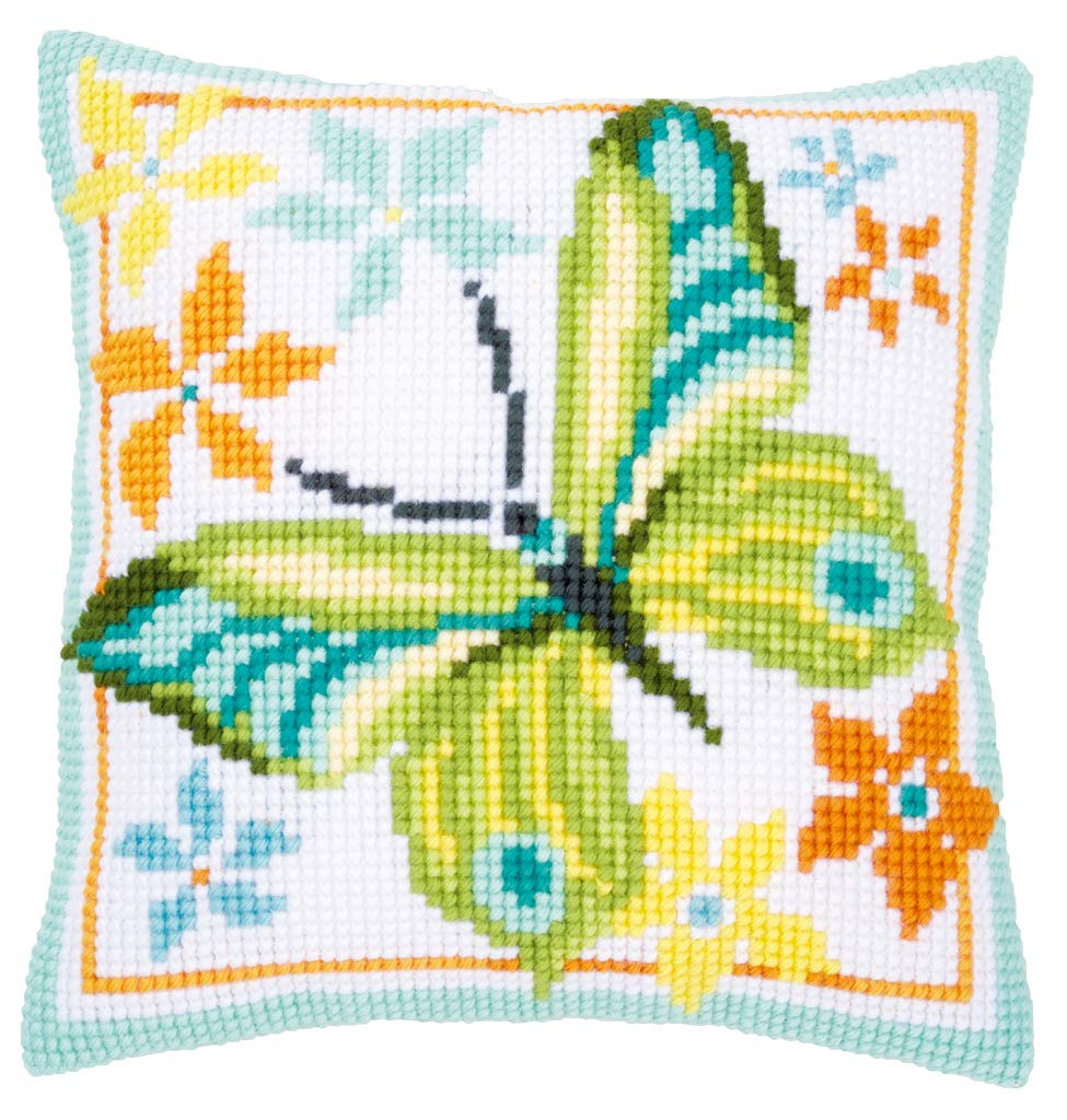 Amazon.com: Vervaco Green Butterfly Cross Stitch Cushion Kit ...
