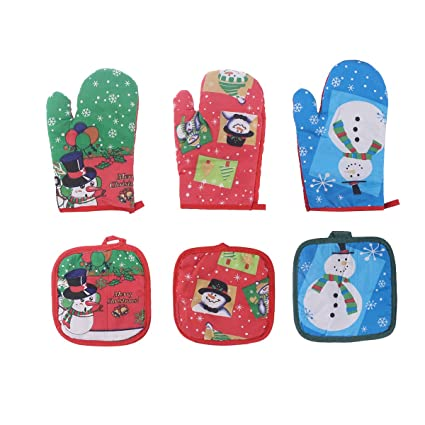 ounona christmas snowman oven mitts and pot holders heat resistant red green blue set of 3