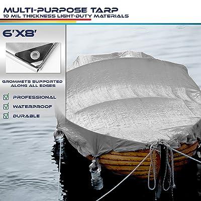 Windscreen4less 6' x 8' Heavy Duty 10 Mil Waterproof Silver Poly Tarp