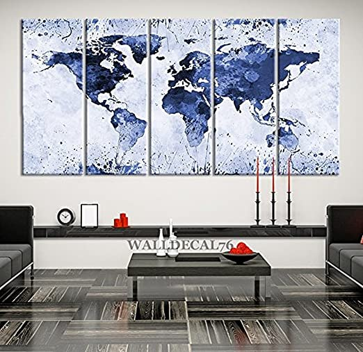 QIUXIA 5 Panel Canvas Light Blue Ink Splashed World Map on White Background Large Wall Art