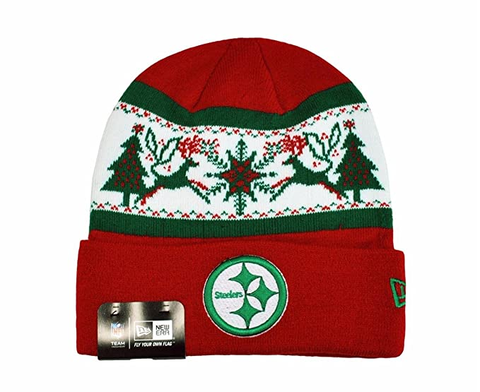 Image Unavailable. Image not available for. Color  NEW ERA NFL Knit Fillz Pittsburgh  Steelers Beanie Christmas Red Headwear HAT 84e64e490