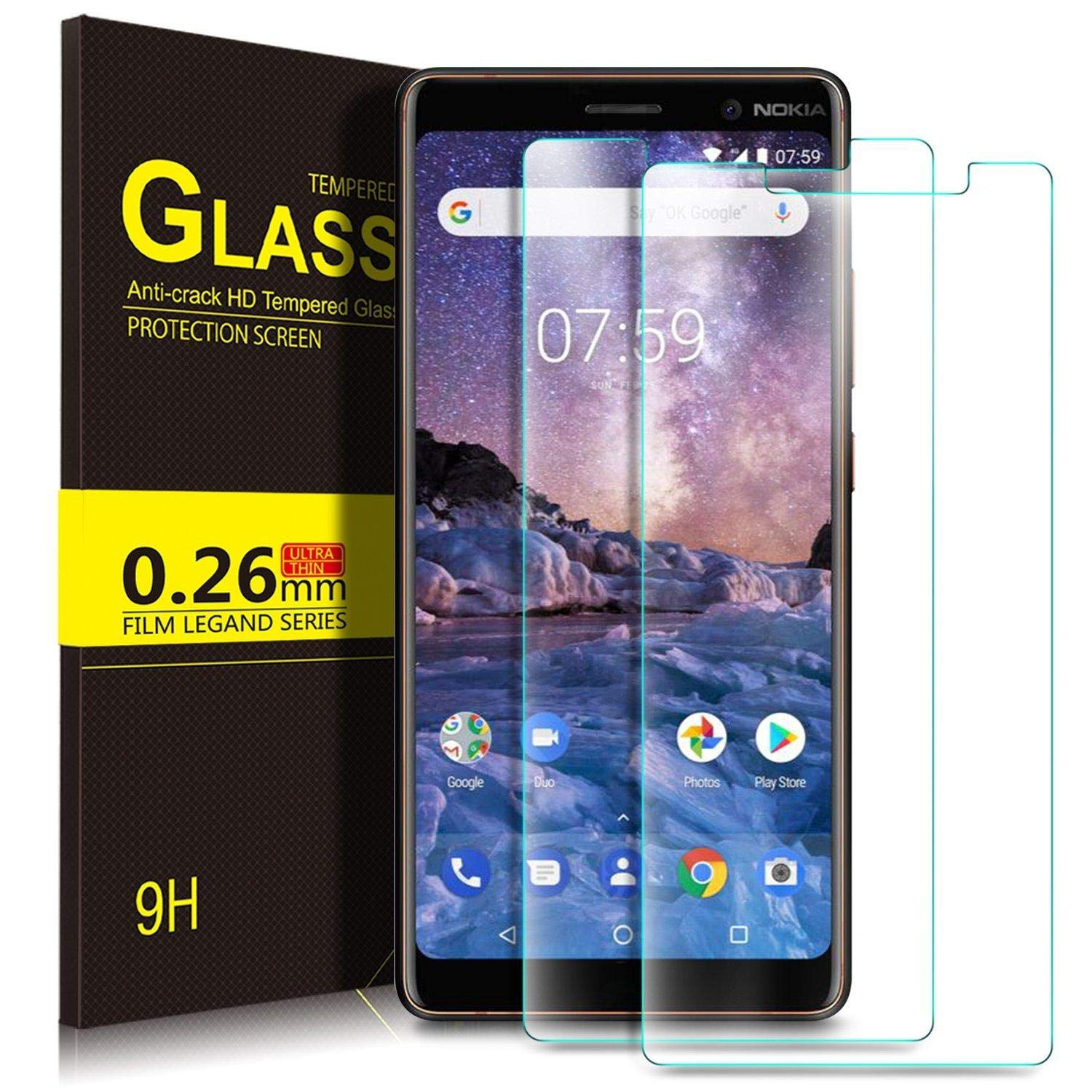 2 Pack -Nokia 7 Plus 2018 Screen Protector 9H Hardness HD Tempered Glass  Screen ProtectorHardness HD Tempered Glass Screen Protector
