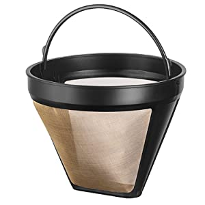 NRP Steel Gold-tone Taller No.4 Permanent Coffee Filter 12cup for KRUPS & More Coffeemakers