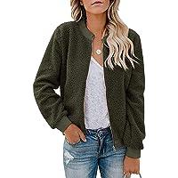 LEANI Women's Long Sleeve Coat Pocketed Bomber Jacket Casual Zip Up Faux Fleece Fuzzy Outwear