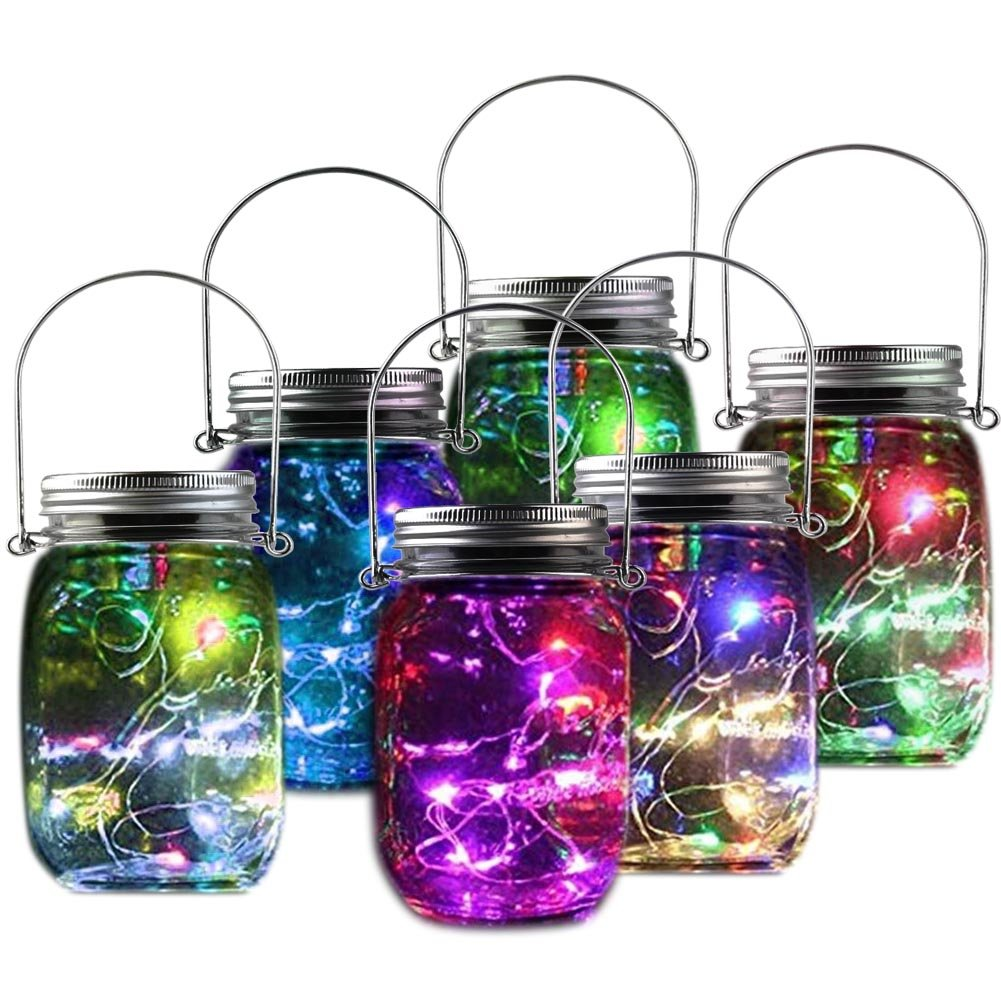 Mason Jar Fairy Lights,Fireflies Lanterns Fairy Garden Porch String Starry Twinkle 10LED Jar Lids Light Outdoor Patio Pendant Decor For Holiday Party Yard Garden Tree Colorful 6 PACK