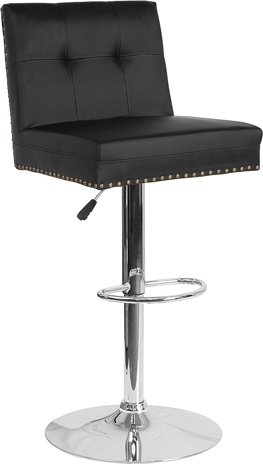 Flash Furniture Ravello Contemporary Adjustable Height Barstool with Accent Nail Trim in Black LeatherSoft