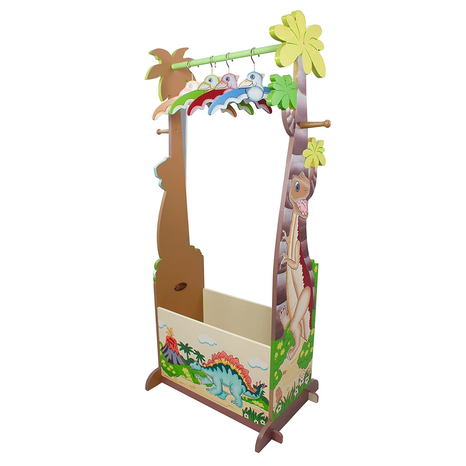 Fantasy Fields - Dinosaur Kingdom Thematic Wooden Dress Up Storage Station with Set of 4 Hangers | Imagination Inspiring Hand Crafted & Hand Painted Details | Non-Toxic, Lead Free Water-based Paint TD-0067A