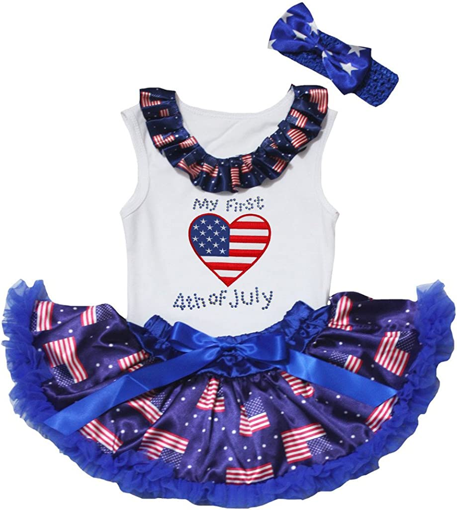 Petitebella My First 4th of July Heart White Shirt US Flag Blue Baby Skirt 3-12m