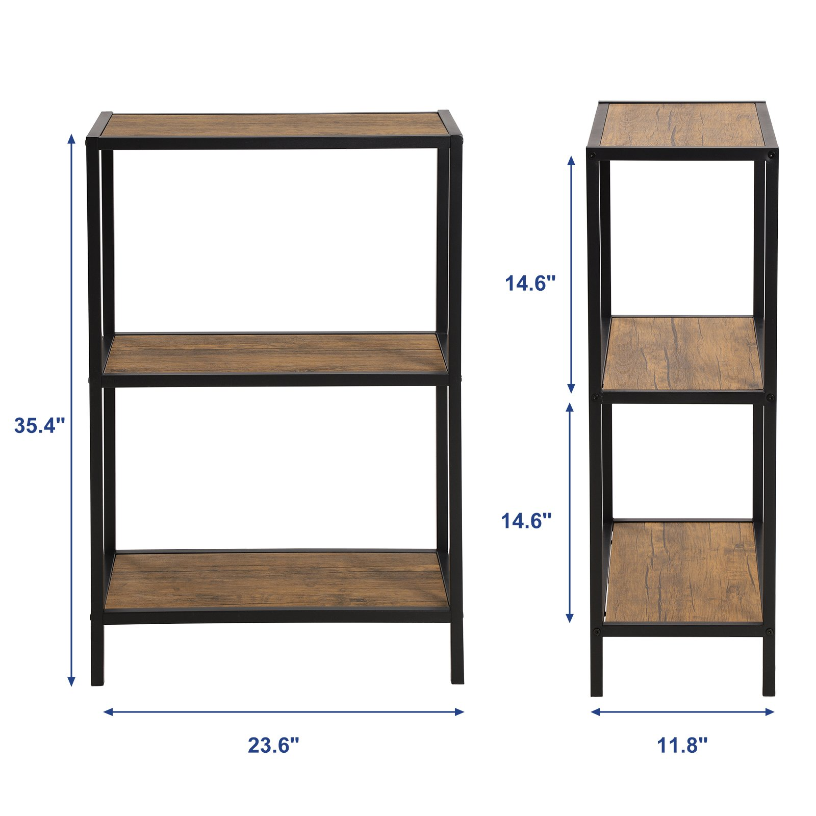 SONGMICS 3-Tier Storage Shelf Rack, Multifunctional Bookcase, Metal Frame Display Rack,Shelving Unit for Kitchen, Living Room,Rustic, ULSS90BX by SONGMICS (Image #6)