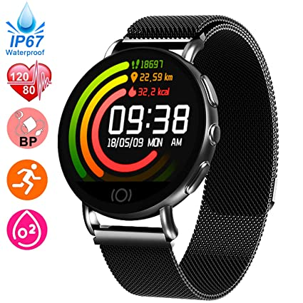 Fitness Tracker for Women Men - Heart Rate Blood Pressure Blood Oxygen Monitor Watch, Sport Business Smart Watch, IP67 Waterproof Activity Tracker, ...