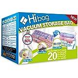 Hibag Bolsas de ahorro de espacio, paquete de 20 bolsas de almacenamiento al vacío (6 medianas, 5 grandes, 5 jumbo, 2 pequeña
