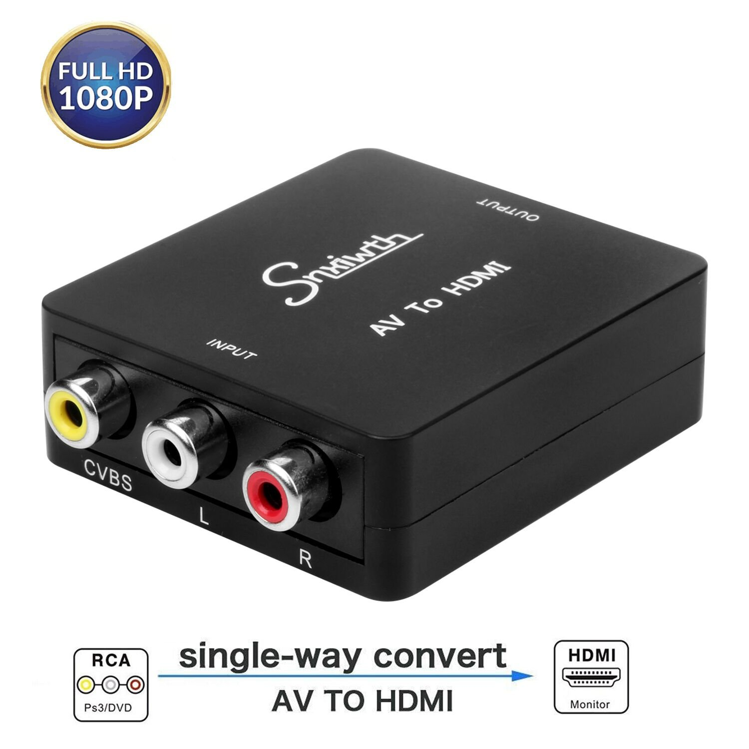 Snxiwth RCA to HDMI, 1080P Mini RCA Composite CVBS AV to HDMI Video Audio Converter Adapter,AV to HDMI for PC Laptop Xbox PS4 PS3 TV STB VHS VCR Camera DVD.