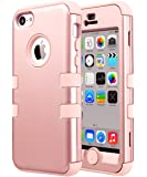 iPhone 5C Case, iPhone 5C Case Rose Gold, ULAK Shockproof Soft Silicone Kidproof Hybrid Heavy Duty Dual Layer High Impact Protection Case Cover for Apple iPhone Apple iPhone 5C-Rose Gold