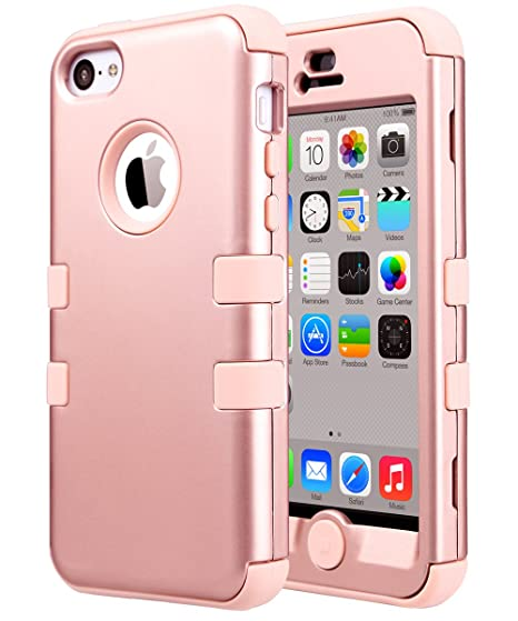 new style 71dc8 7b673 ULAK iPhone 5C Case,5C Case, Hybrid Shock-Absorption Anti-Scratch Case Soft  Silicone Rubber Hard Plastic Protective Cover for Apple iPhone 5C, Rose ...