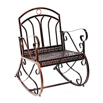Outsunny Metal Single Chair 1 Seater Garden Outdoor Rocking Chair