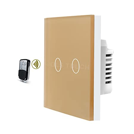 GLSTouch Smart RF Touch Light Switch, Gold Glass Panel, 2 Gang 1 Way ...
