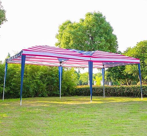 Erommy Folding Pop Up Canopy Tent American Flag Print Portable Slant Leg Shelter