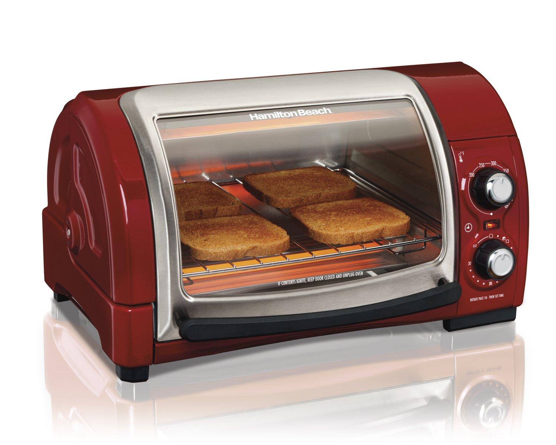 Hamilton Beach Easy Reach Toaster Oven, Red (31337) by Hamilton Beach