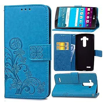 Funda Para LG G4 (5.5pulgada) , pinlu® Alta Calidad Función de plegado Flip Wallet Case Cover Carcasa Piel PU Billetera Soporte Con Trébol de la ...