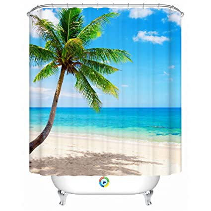 Beach Shower Curtain Palm Tree Decorative Theme3d Polyester Fabric Pringing Tropical Design With 12