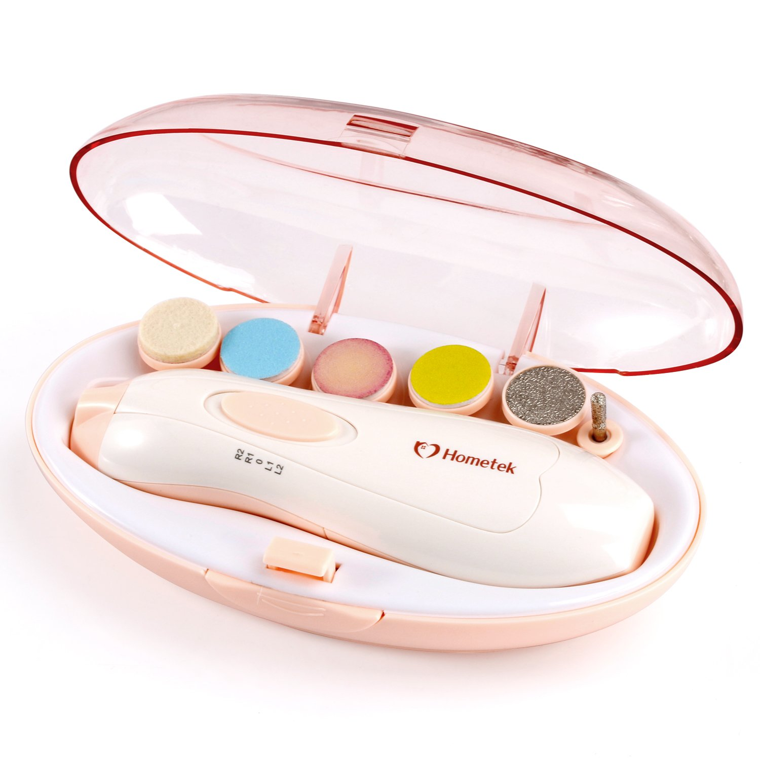 Baby Nail File Manicure Set - Safe Electric Nail Clipper Baby Nail Trimmer with LED Light for Newborn Infant Toddler Kids Adults Women Toes and Fingernails, Perfect Baby Shower Gift (Pink)