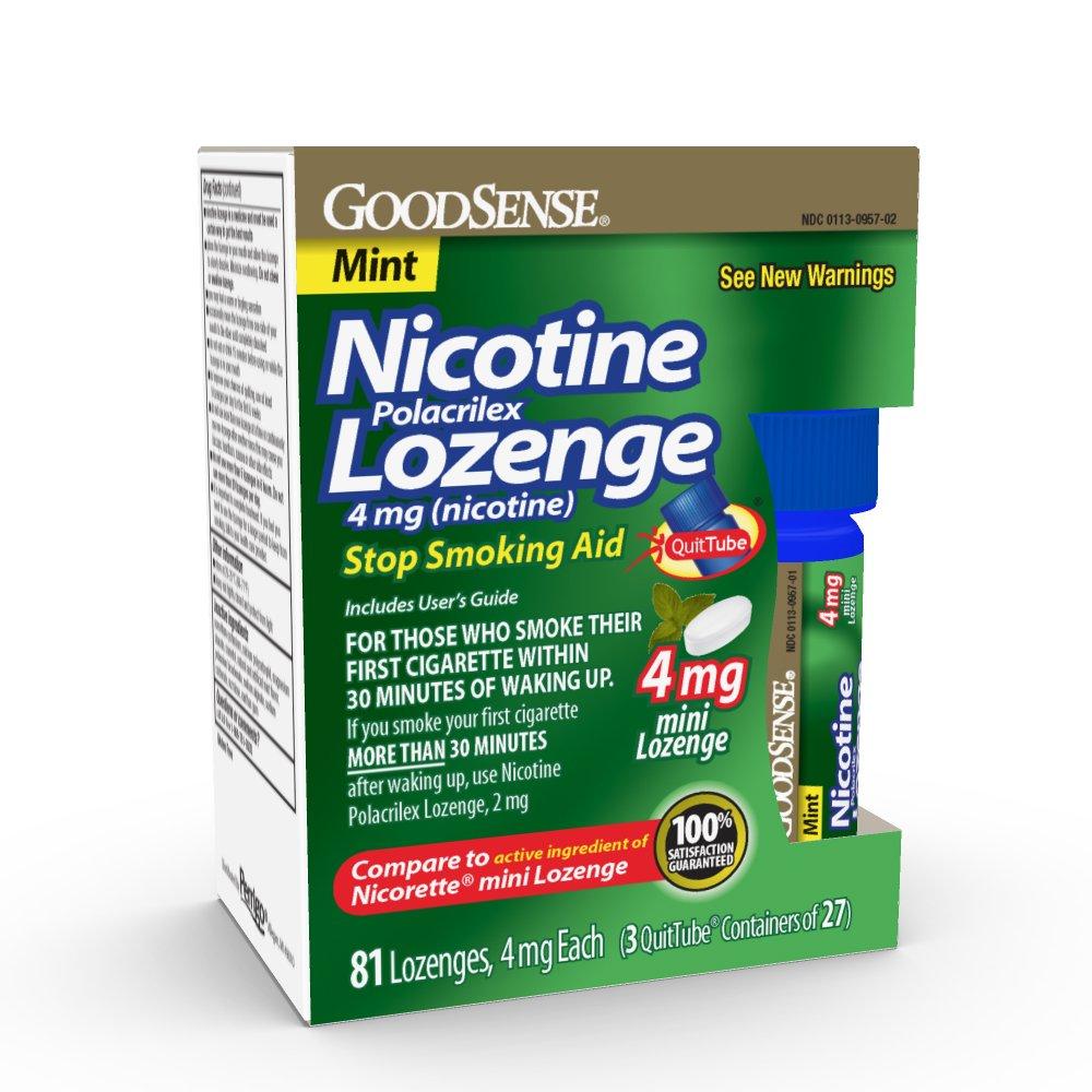 GoodSense Mini Nicotine Polacrilex Lozenge 4mg, Mint, 81-Count, Stop Smoking Aid, GoodSense Smoking Cessation Products by Good Sense