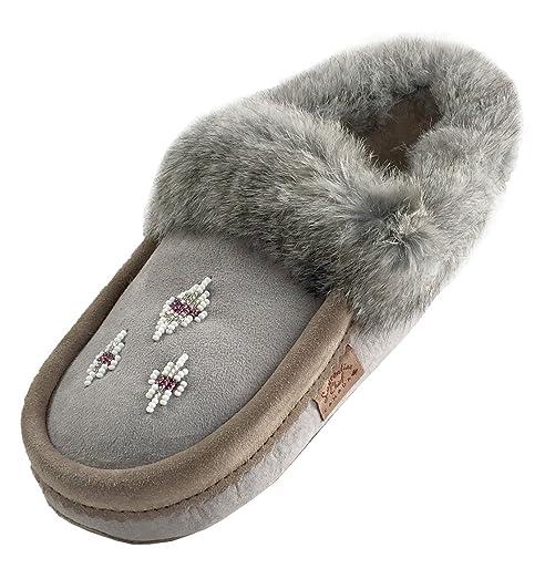 Women's Beaded Genuine Sheepskin Slippers with Rabbit Fur Trim