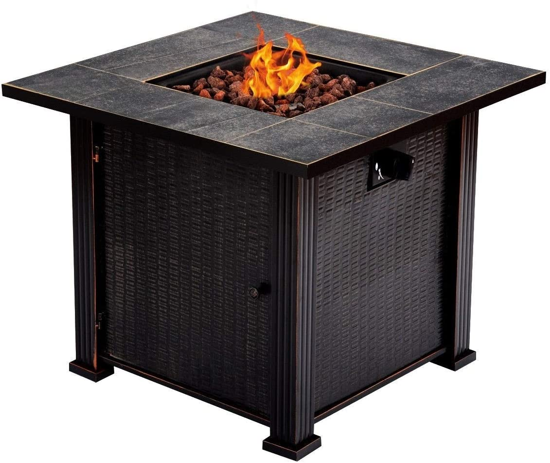 "B07J4FQHPS BESTChoiceForYou 30"" Square Outdoor Fireplace Propane Gas Fire Pit Table - Black Color 71TZDx39u4L.SL1200_"