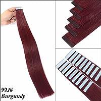 Tape In Hair Extensions 20 Inch Human Hair Extensions 99J Burgundy 50 Gram Per Pack