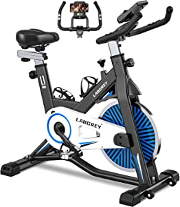 LABGREY Exercise Bike Indoor Cycling Bike Stationary Cycle Bike with Heart Rate Sensor & Comfortable Seat Cushion, Quiet Fitness Bike for Home Cardio Workout