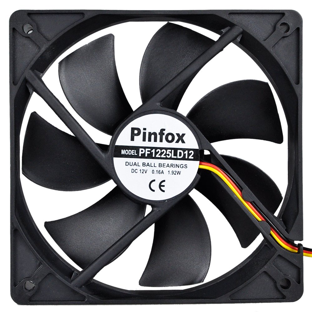 Pinfox 12V DC 120mm Quiet Cooling Fan, Variable Speed Control By 5V To 12V Input, Dual Ball Bearings 3 Pin for PC Computer Case, Home Theater Cabinet, Receiver DVR Xbox, Incubator by Pinfox (Image #1)