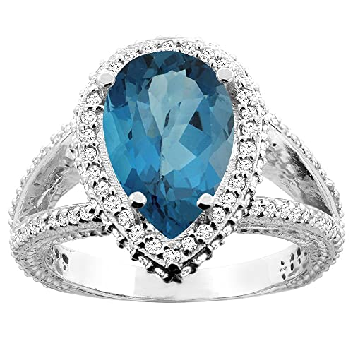 14K White/Yellow Gold Natural London Blue Topaz Halo Ring Pear 12x8mm Diamond Accents, sizes 5 - 10