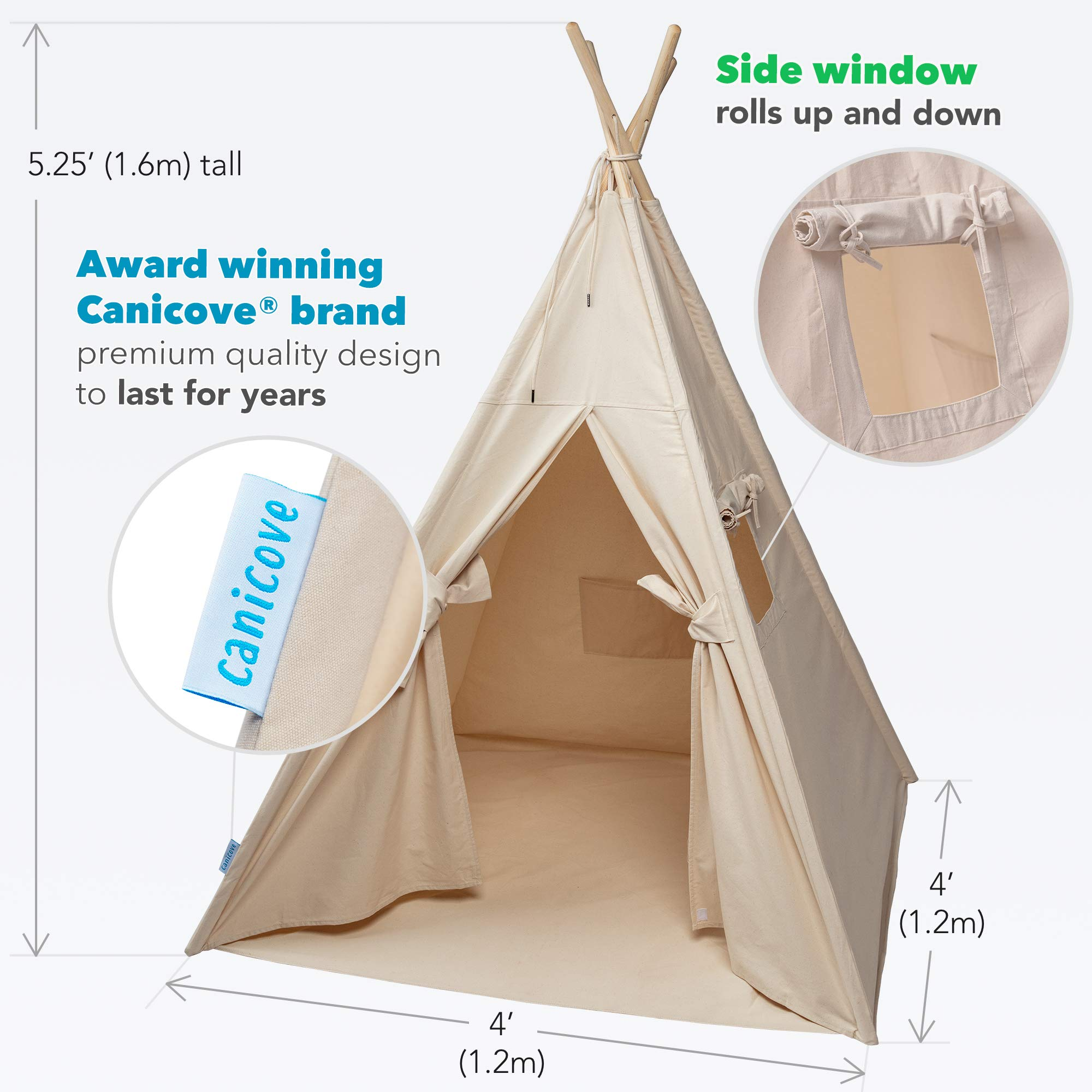 Canicove Teepee Tent for Kids - Award Winning 100% Cotton Play Tent - Large Indoor/Outdoor Tipi for Boys & Girls + Free Fun Flags! by Canicove (Image #6)