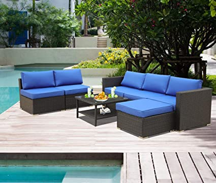 Leaptime Patio Furniture Garden Rattan Sofa 7 Piece Pe Rattan Royal Blue Cushion Outdoor Couch Outside Conversation Set Easy Assembled Black Rattan
