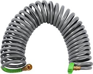 YANWOO EVA Coil Garden Hose, 30FT Heavy Duty Flexible Kink Free Recoil Water Hose with Brass Connector (30 Feet)