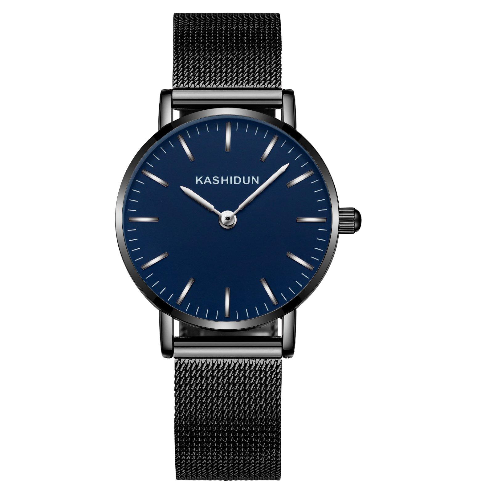 KASHIDUN Women's Watches Gorgeous Waterproof Small Quartz Wristwatches Black Mesh Alloy Bracelet Blue Dial