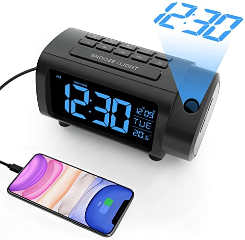 LIORQUE Projection Alarm Clock with FM Radio, Temperature Monitor, USB Charger, Weekend Mode, 2-Color VA Display with 4 Dimmer, Switch, DST, Sleep Timer, Snooze, 12 24H