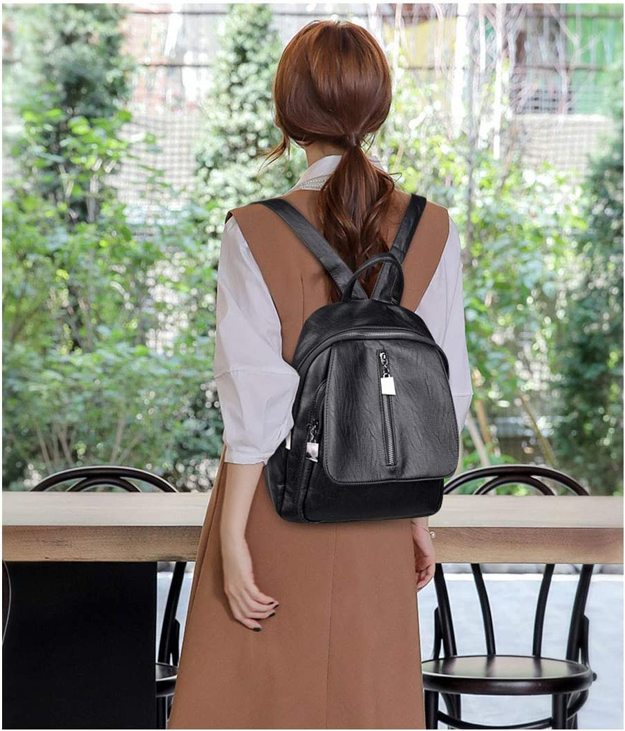 Sleek Minimalist Hengtongtongxun Girls Multifunctional Backpack for Daily Travel//Outdoor//Travel//School//Work//Fashion//Leisure 2019 New Black//Blue//Red//Purple//Bronze PU Leather