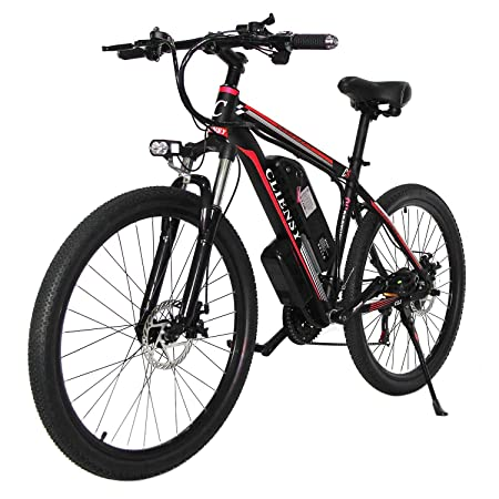 """CLIENSY 26"""" Electric Mountain Bike, 350W Ebike with Removable 36V 10AH Lithium Battery for Adults, 21 Speed Shifter(Red)"""
