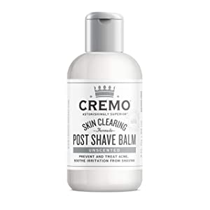 Cremo Unscented Post Shave Balm with Skin Clearing Formula, Helps Prevent Razor Bumps, Blemishes and Ingrown Hairs, 3 Fluid Ounces