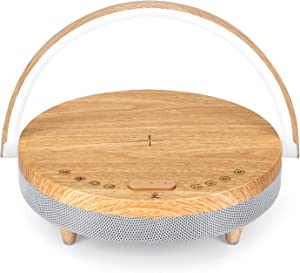 Lavone White Noise Machine with Wireless Charger and Adjustable Night Light,27 Different Sleep Sounds,Timer,and Phone Holder Features,Sound Machine for Baby,Adults,Home,Office and Travel(Wood)