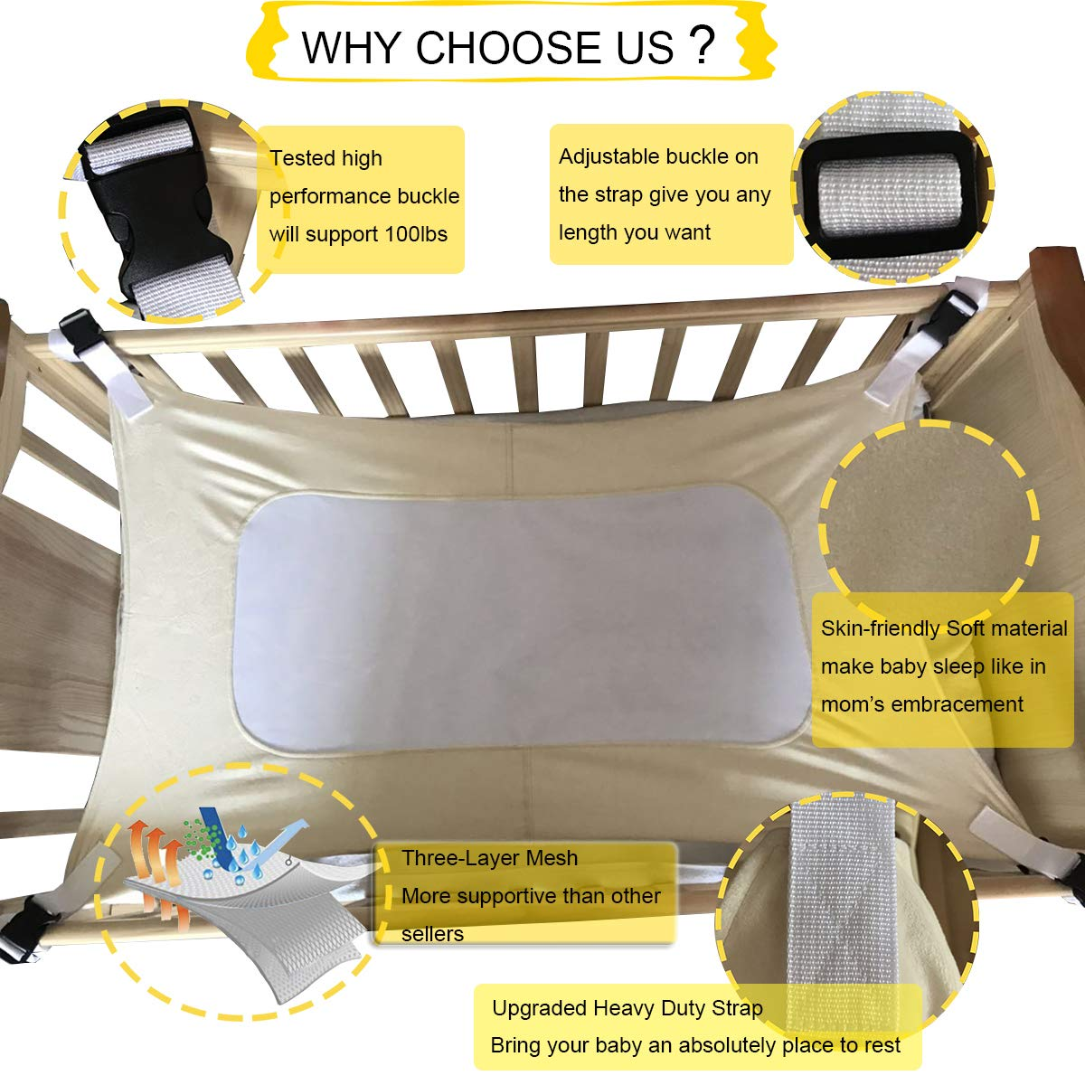 Upgraded Safety Measures Bassinet Hammock Bed Newborn Infant Nursery Bed Rose Pink Double-Layer Breathable Supportive Mesh Enhanced Material Mimic Womb Baby Hammock for Crib