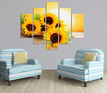 PulsatingFingertip-5 Panel Rolled Sunrise Landscape Oil Painting Modern  sunflower Picture Canvas Prints for Living