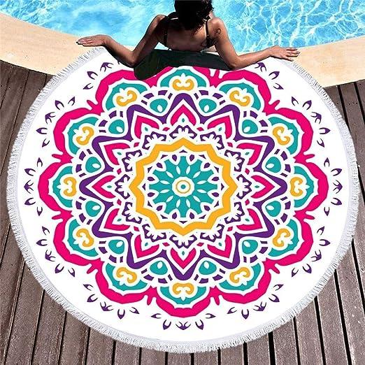 DJSMstj Tapicería de Playa Borla de algodón Toalla de Playa Redonda Natación Chal mantón de Picnic Manta de Yoga Sofá Toallas de Playa (Color : B): Amazon.es: Hogar