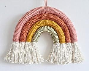 EBINGMIMA Rainbow Wall Hanging, Macrame Woven Rainbow, Rainbow Wall Decor, Baby Room Decor, Nursery Gift (Dusty Pink)