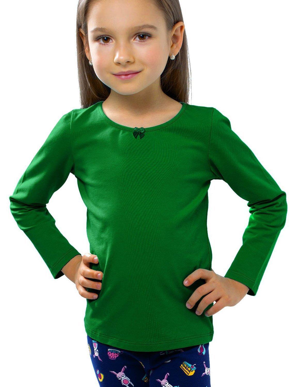 Petite Amelia Little Girls Long Sleeve Bow Top, Size 4, Green
