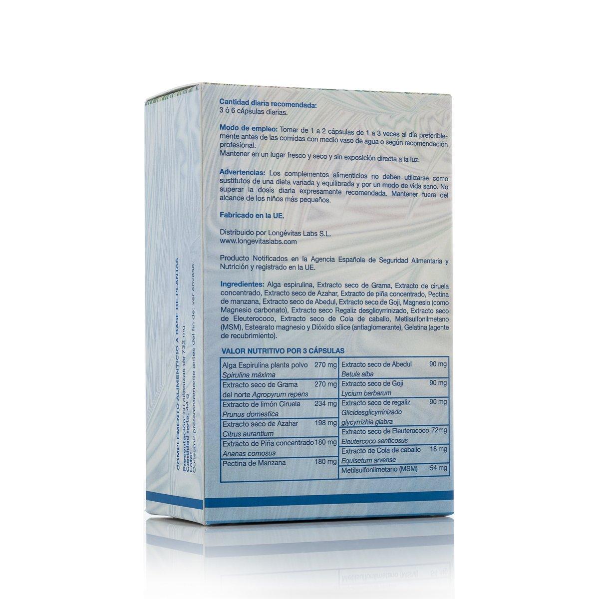 Fórmula Slim es el complemento nutricional de Longevitas Labs que te ayuda a reducir toxinas, con efecto diurético y depurativo.