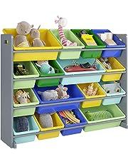 HOMFA Kid's Toy Storage Organizer with 16 Plastic Bins 4 Tiers for Kids Bedroom Playroom,Grey/Primary