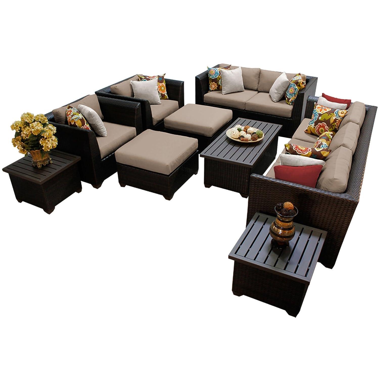 TK Classics BARBADOS-12d-WHEAT 12 Piece Barbados-12D Outdoor Wicker Patio Furniture Set, Wheat